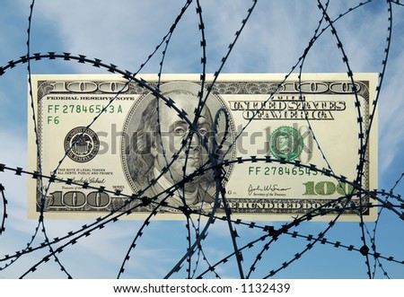 One hundred dollar bill behind the wire