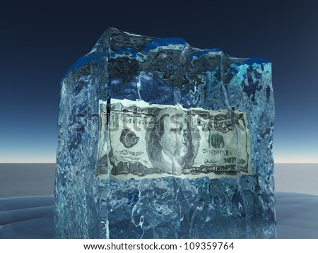 One hundred dollar bill frozen in ice - stock photo