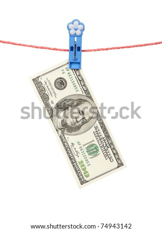 One hundred dollar bill hanging on clothesline isolated on white background