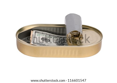One hundred dollar bill, hidden in a can
