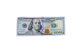 One hundred dollar bill isolated on the white background