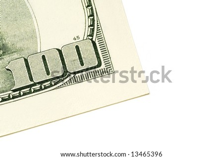 One hundred dollar bill isolated on white