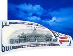 One hundred dollar bill on the blue sky - place this image on white background for reaching perfect illusion of reality
