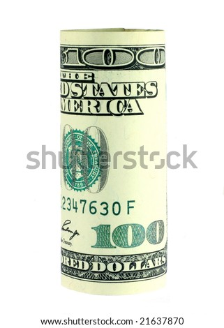 One hundred dollar bill roll isolated on white