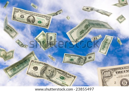 One hundred dollar bills falling from the sky. - stock photo
