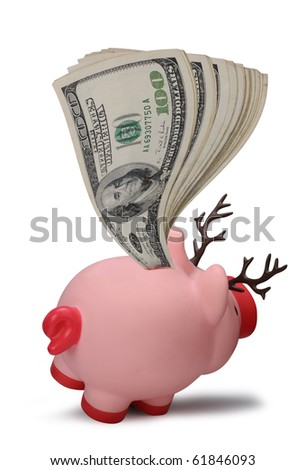 One Hundred Dollar Bills stuffed in the Back of a Reindeer Piggy bank.