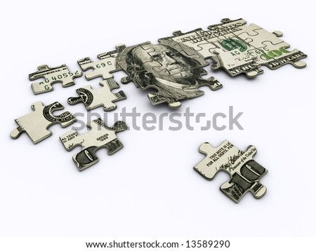 One hundred dollar on jigsaw puzzle - rendered in 3d