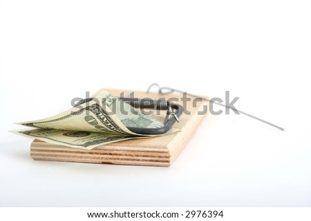 one hundred dollars banknote in the mousetrap