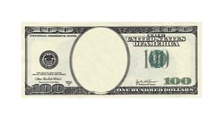 One hundred dollars bill with no face isolated on white