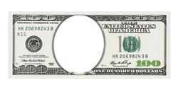 One hundred dollars bill with no face isolated on white, clipping path included