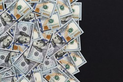 One hundred dollars, new 100 US dollar. One hundred dollars background. Free space for text.