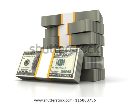 One hundred dollars stack on a white background