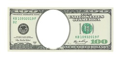 One hundred dollars with a hole instead of a face;
