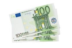 One hundred euro banknotes on white background