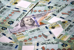 One hundred Lebanese lira one hundred dollar, economy, cash money,  currency fading