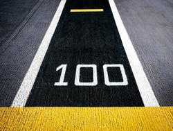 One hundred meters, runway on an aircraft carrier (abstract meaning apply for one hundred%, sure, confirm, complete, success)