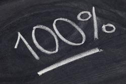 one hundred percent symbol - white chalk handwriting on blackboard