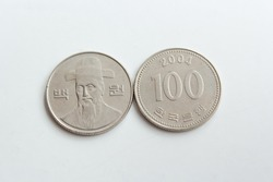 One hundred south korean won coin isolated on white background, 2004 year, 100 wons korea collectible coin,  empire, collectors, numismatic, metal money,  tokens collection of currency