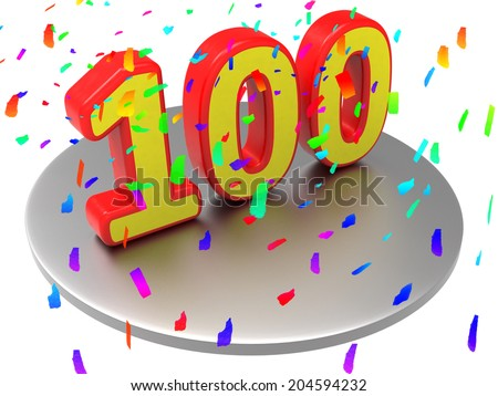 One Hundredth Showing Happy Birthday And Anniversary