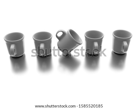 One individual different cup with other cups isolated on white background. Business concept. 3d rendering