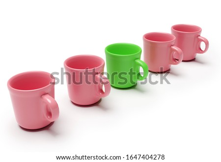 One individual green cup with other red cups isolated on white background. Business concept. 3d rendering