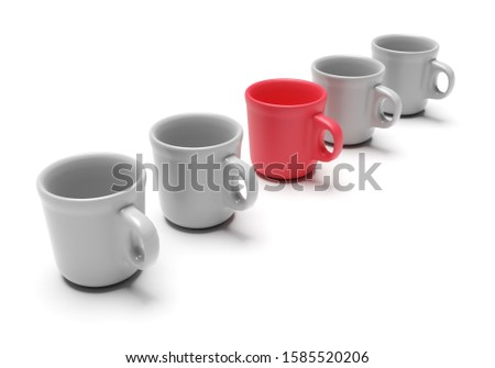 One individual red cup with other cups isolated on white background. Business concept. 3d rendering