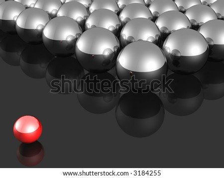 One individuality small red ball render.