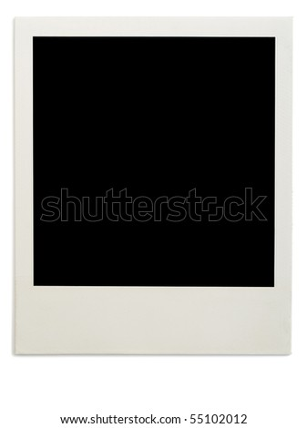 One instant photo on white background