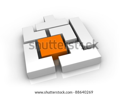 one interlocking game made with pieces of various shapes (3d render)
