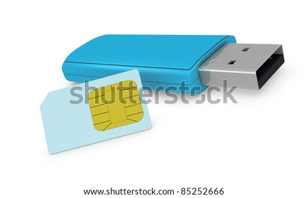 one internet key with a sim card (3d render) - stock photo