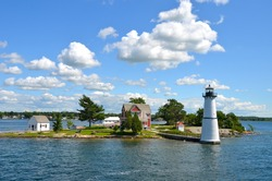 One Island in Thousand Islands Region in fall of New York State, USA