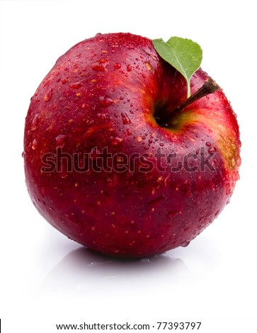 One Juicy red apple with leaves and water droplets