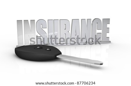 one key of a car with a keychain made with the word: insurance (3d render)