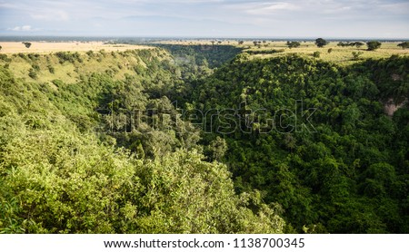 One kilometer long and 100 meters deep Kyambura Gorge in the Queen Elizabeth National Park that is a home for chimanzees, Uganda #1138700345