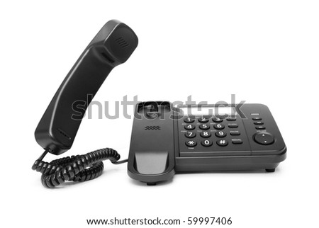 One landline phone on white background