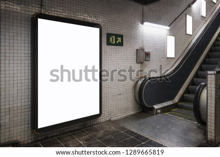 One large light box screen and three blank frames with white empty space for advertisement. Mock-up concept for commercial purposes.  #1289665819