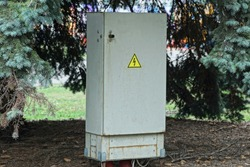 one large metal electric gray box stands outside by a green spruce conifer in a park
