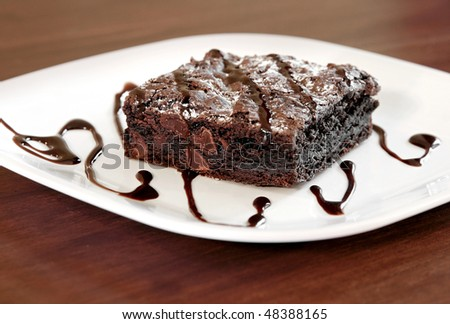 one large square chocolate brownie on a white plate