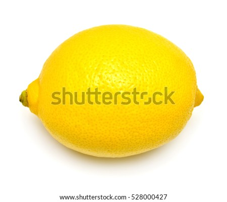 One lemon isolated on white background. Tropical fruit. Flat lay, top view #528000427