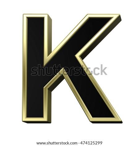 54fb7c6b3c5c 3D illustration · One letter from black with shiny gold frame alphabet set