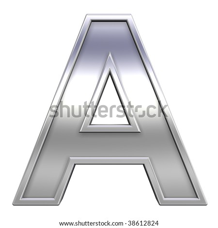 One letter from chrome with frame alphabet set, isolated on white. Computer generated 3D photo rendering.