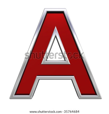 One letter from ruby with chrome frame alphabet set, isolated on white. Computer generated 3D photo rendering. - stock photo