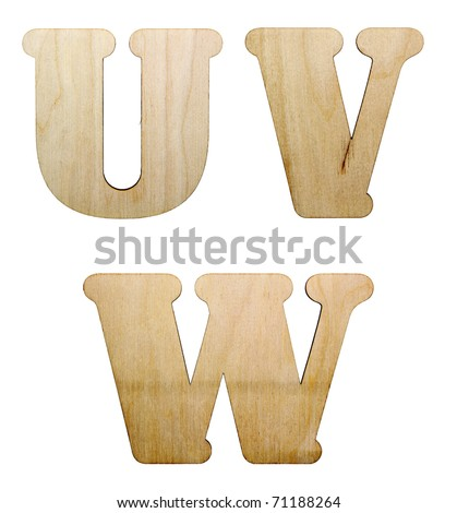 One letter of wooden alphabet isolated on white