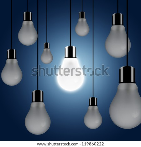 One light turn on. Concept for outstanding or key person in a group