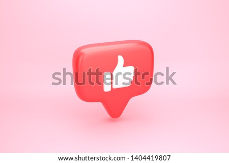 One like social media notification icon with thumb up symbol. 3D illustration Stockfoto ©