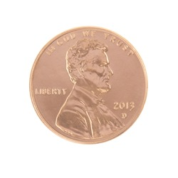 One 2013 Lincoln Penny Obverse