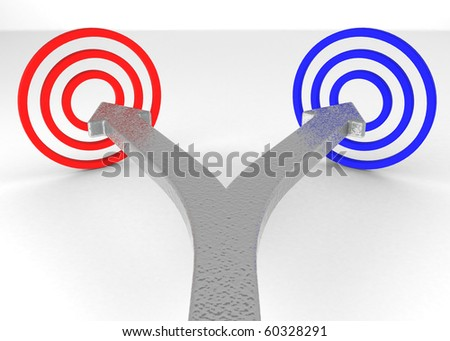 One line that splits into two arrows pointing at two targets of different color.
