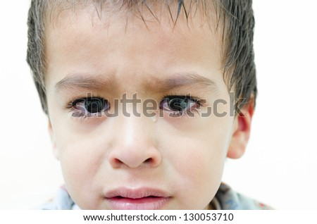 One lonely child weeping on white background