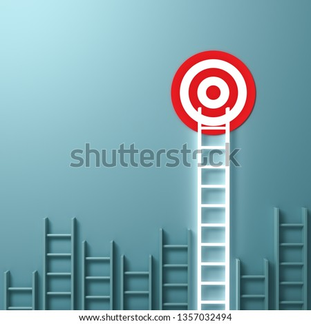 One longest neon light ladder reaching for the bright goal target dartboard the business creative idea concepts on green pastel color wall background with shadows 3D rendering