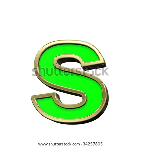 One lower case letter from light green with gold shiny frame alphabet set, isolated on white. Computer generated 3D photo rendering.